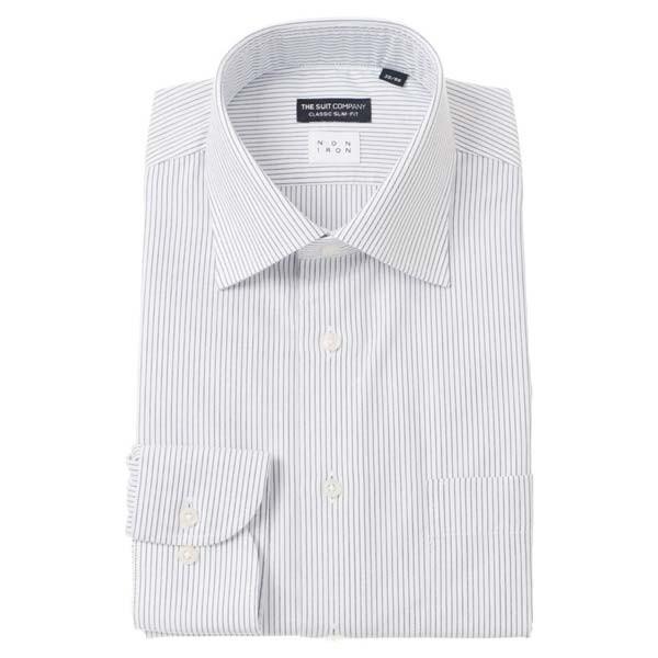 ドレスシャツ/長袖/メンズ/NON IRON/ワイドカラードレスシャツ ストライプ 〔EC・CLASSIC SLIM-FIT〕 ホワイト×ネイビー