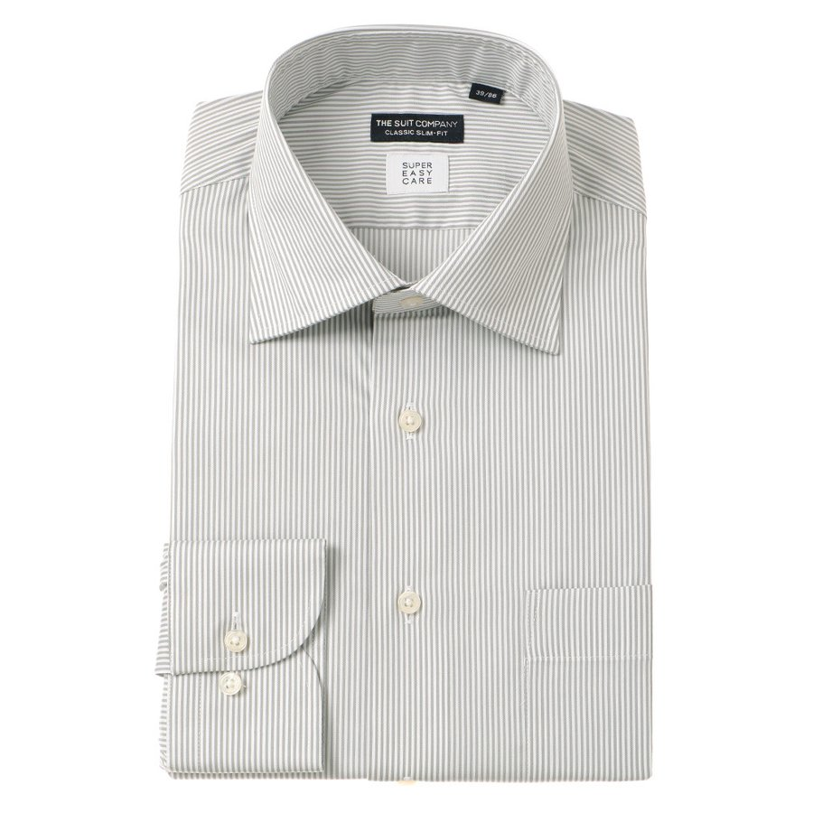 ドレスシャツ/長袖/メンズ/SUPER EASY CARE/ワイドカラードレスシャツ〔EC・CLASSIC SLIM-FIT〕 グレー×ホワイト