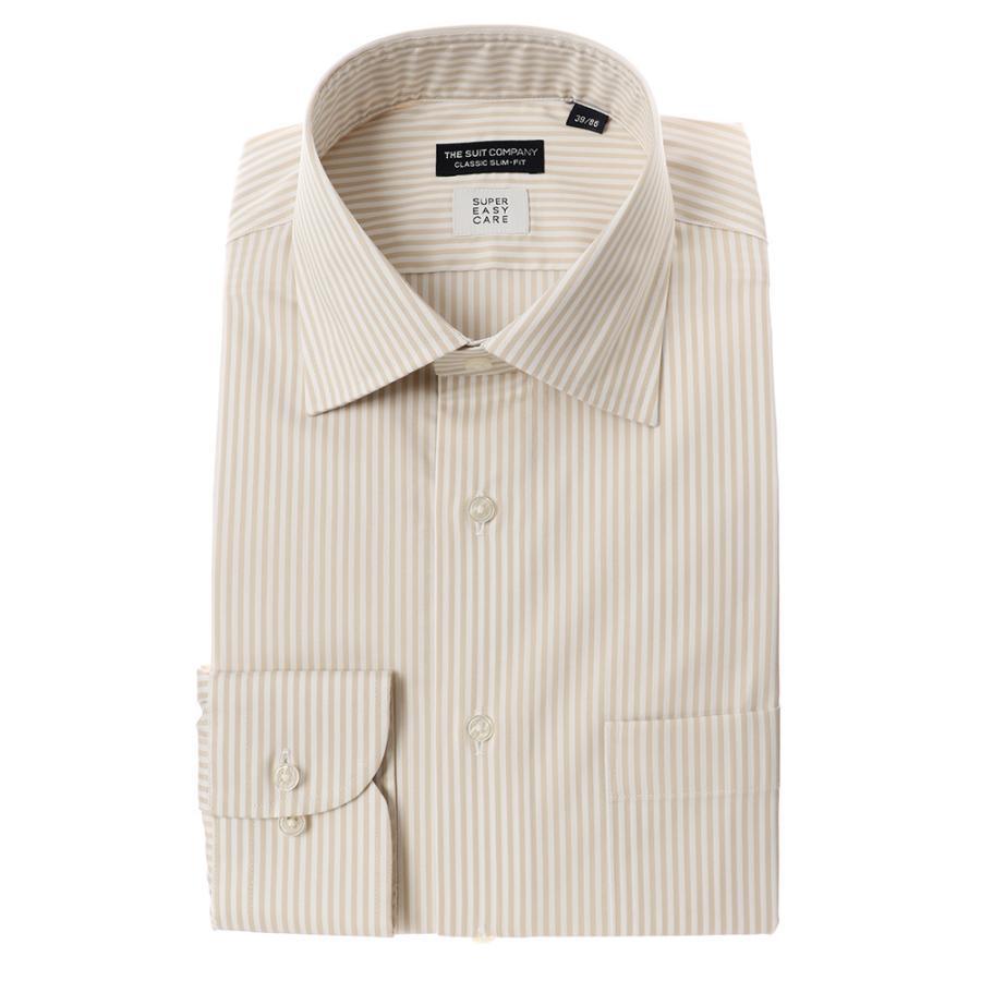 ドレスシャツ/長袖/メンズ/SUPER EASY CARE/ワイドカラードレスシャツ〔EC・CLASSIC SLIM-FIT〕 ベージュ×ホワイト