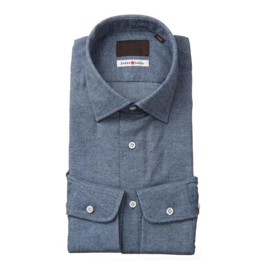 ドレスシャツ/長袖/メンズ/JAPAN FABRIC/ジャージー素材/ワイドカラードレスシャツ 織柄 ブルー