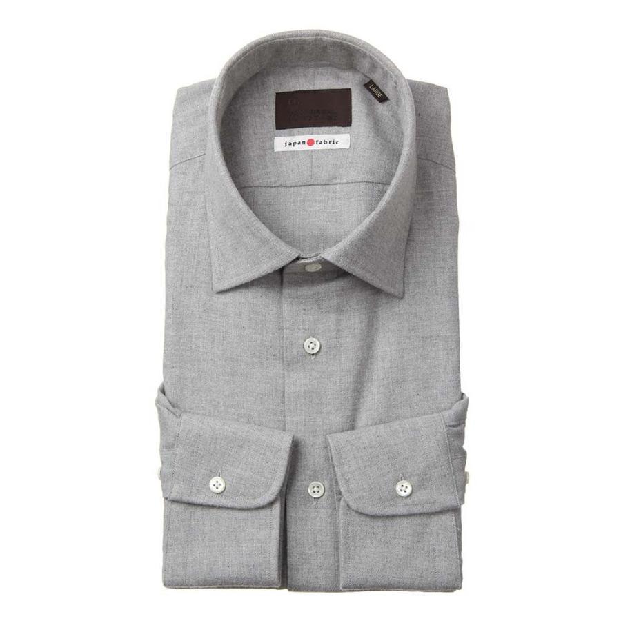 ドレスシャツ/長袖/メンズ/JAPAN FABRIC/ジャージー素材/ワイドカラードレスシャツ 織柄 ミディアムグレー