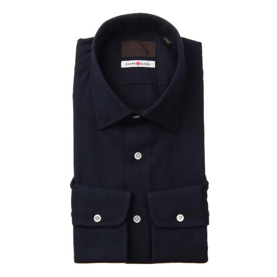 ドレスシャツ/長袖/メンズ/JAPAN FABRIC/ジャージー素材/ワイドカラードレスシャツ 織柄 ネイビー