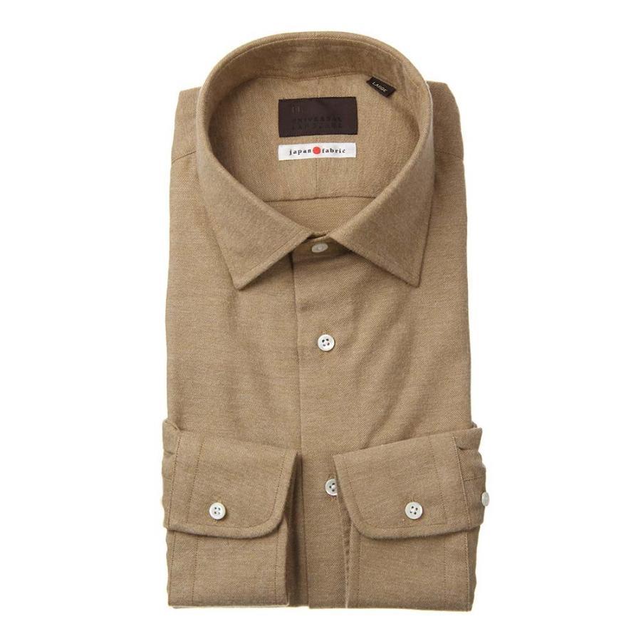 ドレスシャツ/長袖/メンズ/JAPAN FABRIC/ジャージー素材/ワイドカラードレスシャツ 織柄 ブラウン
