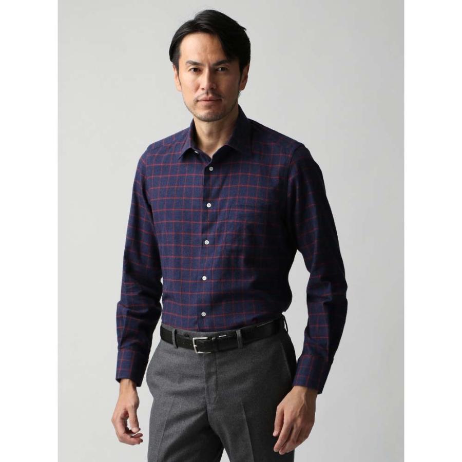 ドレスシャツ/長袖/メンズ/JAPAN FABRIC/ジャージー素材/ワイドカラードレスシャツ チェック ネイビー×レッド