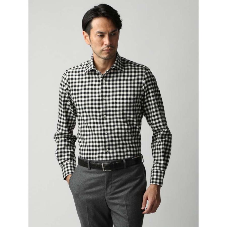 ドレスシャツ/長袖/メンズ/JAPAN FABRIC/ジャージー素材/ワイドカラードレスシャツ ギンガムチェック ブラック×ホワイト
