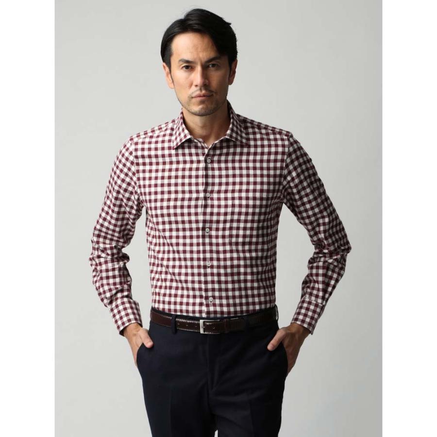 ドレスシャツ/長袖/メンズ/JAPAN FABRIC/ジャージー素材/ワイドカラードレスシャツ ギンガムチェック ボルドー×ホワイト