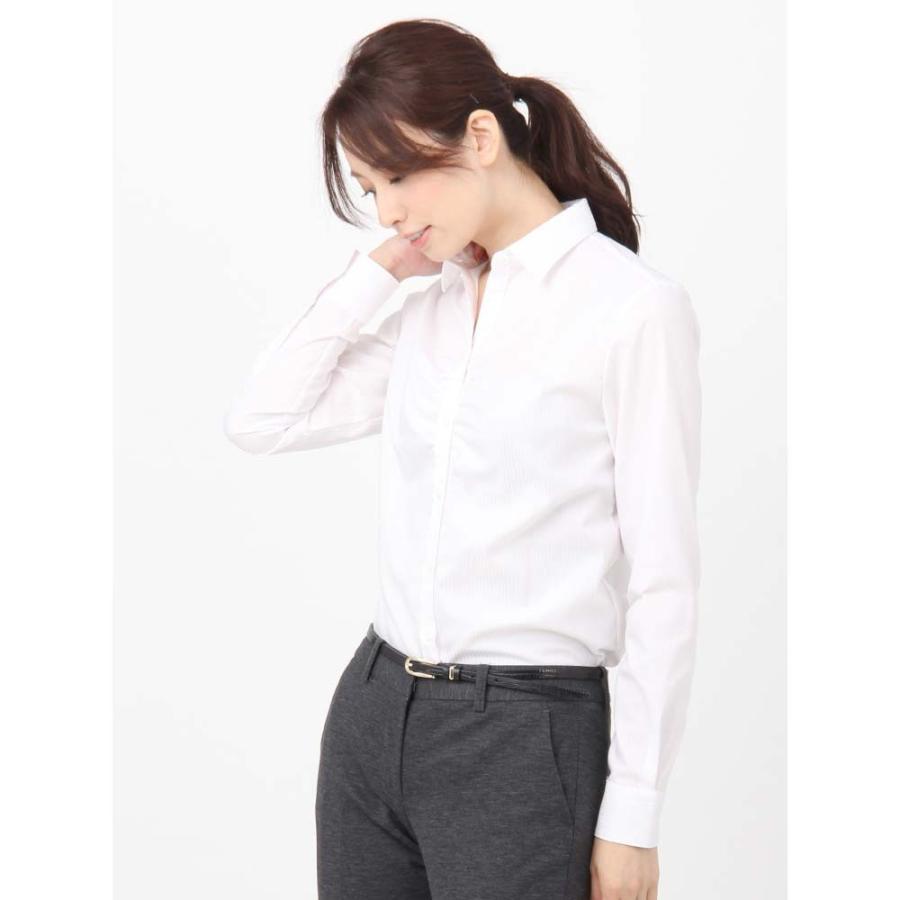 シャツ/ブラウス/レディース/Easy Care Stretch Blouse レギュラーカラー&シャーリングフロントストライプ ホワイト×ピンク