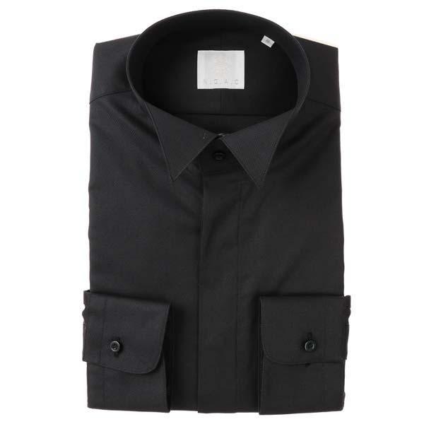 ドレスシャツ/長袖/メンズ/N.G.A.C・チェルモニア/ウイングカラードレスシャツ 織柄 ブラック