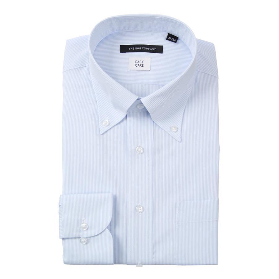 ドレスシャツ/長袖/メンズ/ボタンダウンカラードレスシャツ ストライプ 〔EC・BASIC〕 サックスブルー×ホワイト
