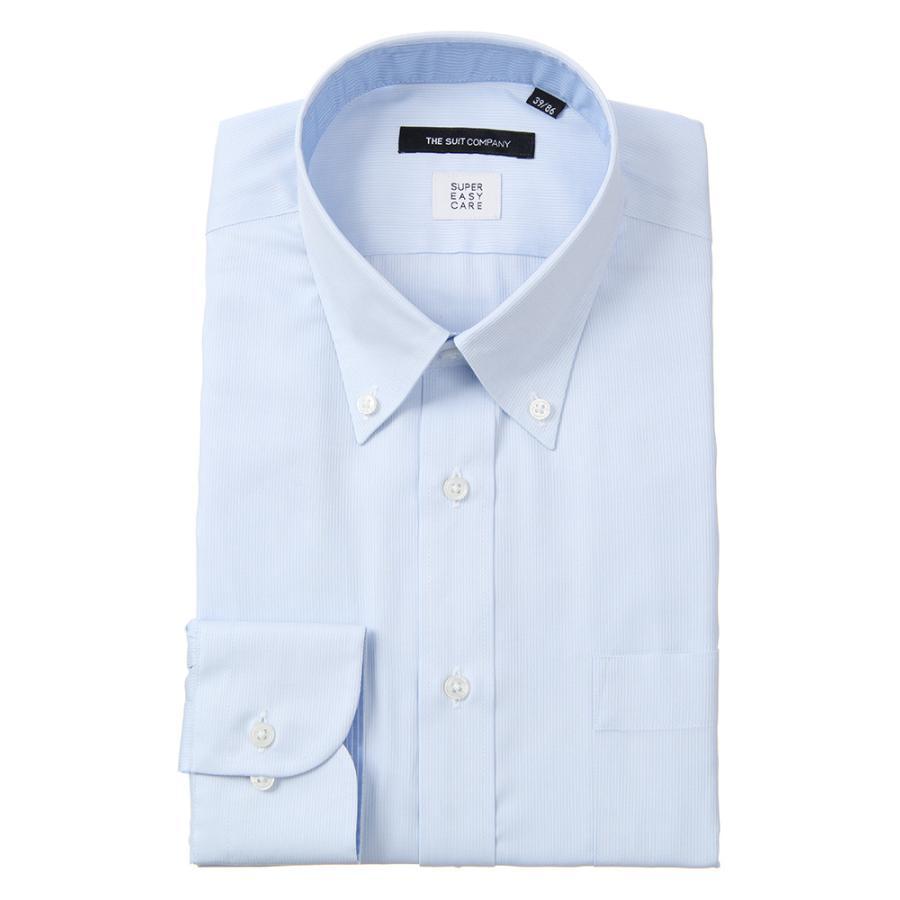 ドレスシャツ/長袖/メンズ/SUPER EASY CARE/ボタンダウンカラードレスシャツ ストライプ〔EC・BASIC〕 サックスブルー×ホワイト