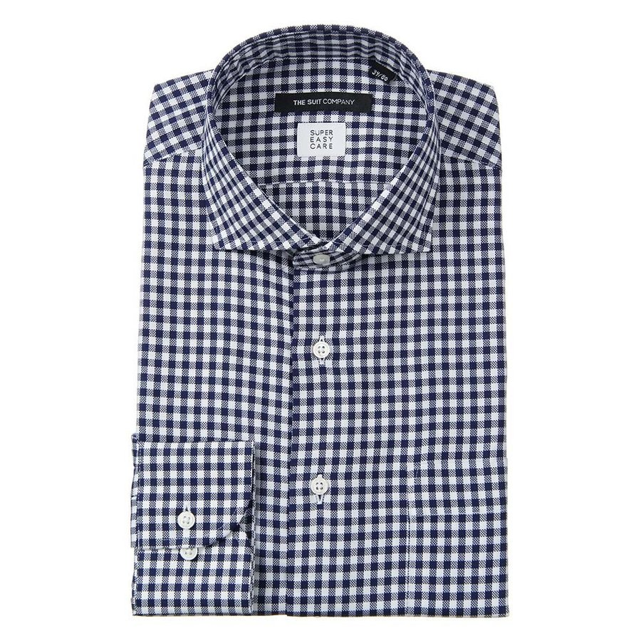 ドレスシャツ/長袖/メンズ/SUPER EASY CARE/ホリゾンタルカラードレスシャツ 〔EC・BASIC〕 ネイビー×ホワイト
