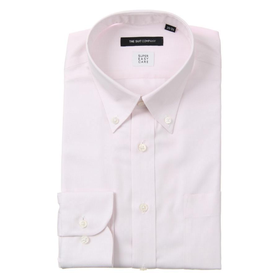 ドレスシャツ/長袖/メンズ/SUPER EASY CARE/ボタンダウンカラードレスシャツ〔EC・BASIC〕 ピンク×ホワイト
