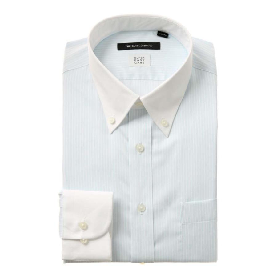ドレスシャツ/長袖/メンズ/COOL MAX/クレリック&ボタンダウンカラードレスシャツ ストライプ 〔EC・BASIC〕 サックスブルー×ホワイト