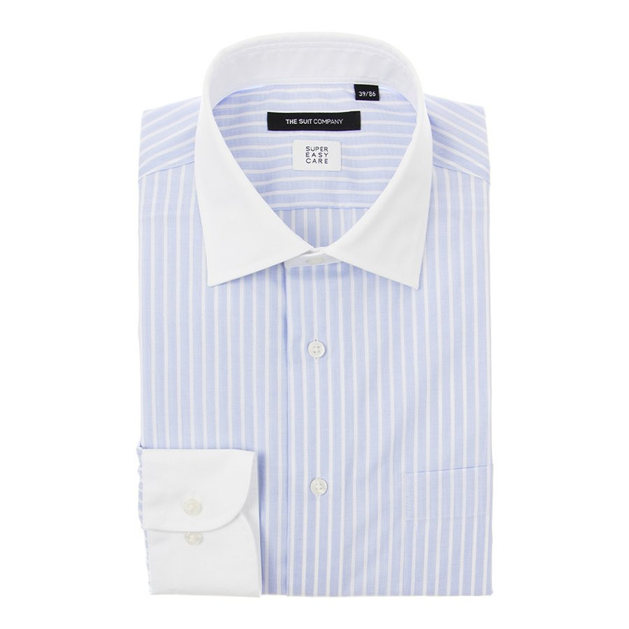 ドレスシャツ/長袖/メンズ/SUPER EASY CARE/クレリック&ワイドカラードレスシャツ〔EC・BASIC〕 サックスブルー×ホワイト