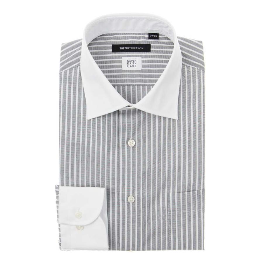ドレスシャツ/長袖/メンズ/SUPER EASY CARE/クレリック&ワイドカラードレスシャツ〔EC・BASIC〕 チャコールグレー×ホワイト