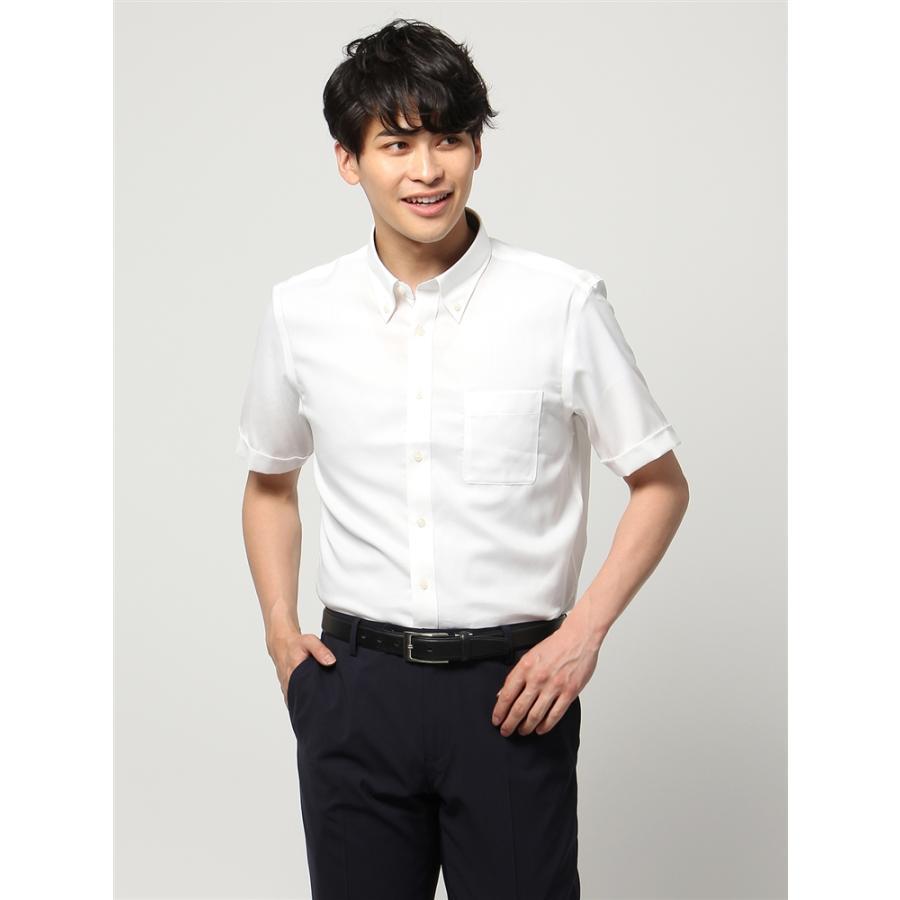 ドレスシャツ/半袖/メンズ/半袖・ICE COTTON/ボタンダウンカラードレスシャツ 織柄 〔EC・BASIC〕 ホワイト