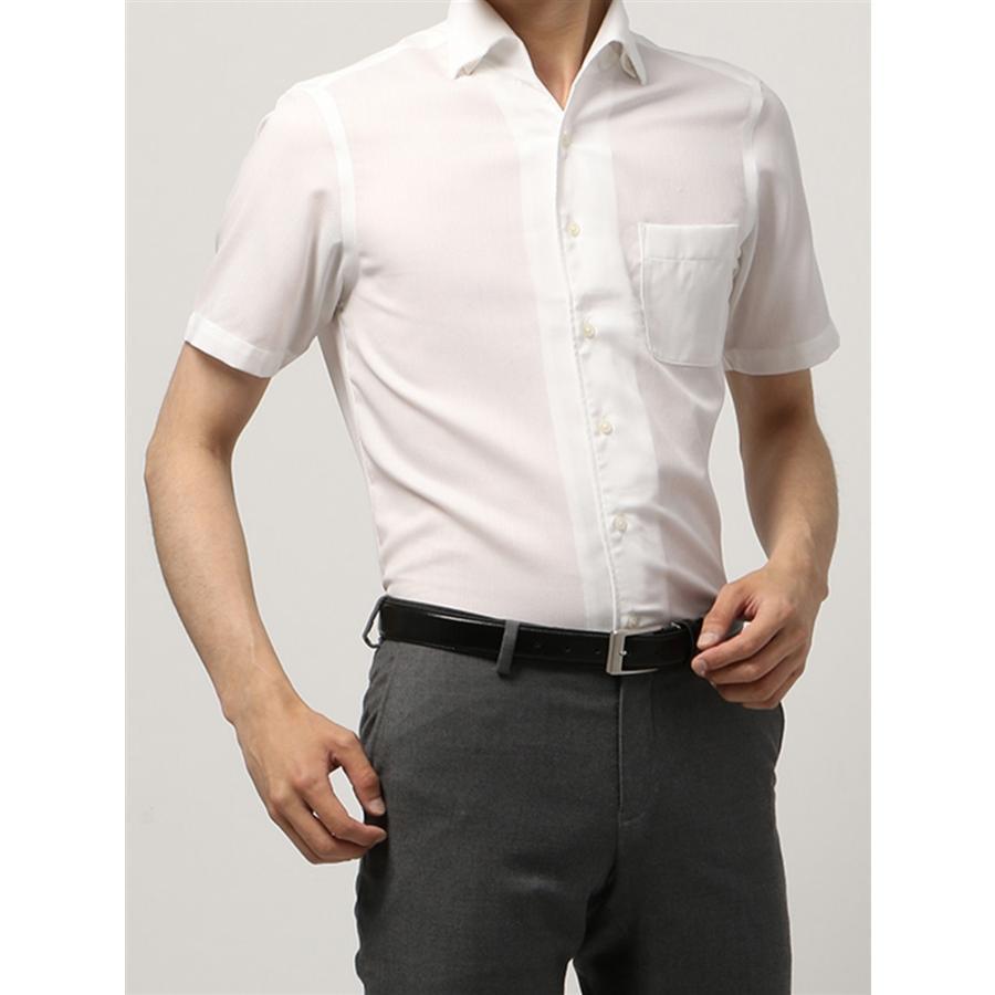 ドレスシャツ/半袖/メンズ/半袖・ICE COTTON/ワンピースカラードレスシャツ 織柄 〔EC・BASIC〕 ホワイト