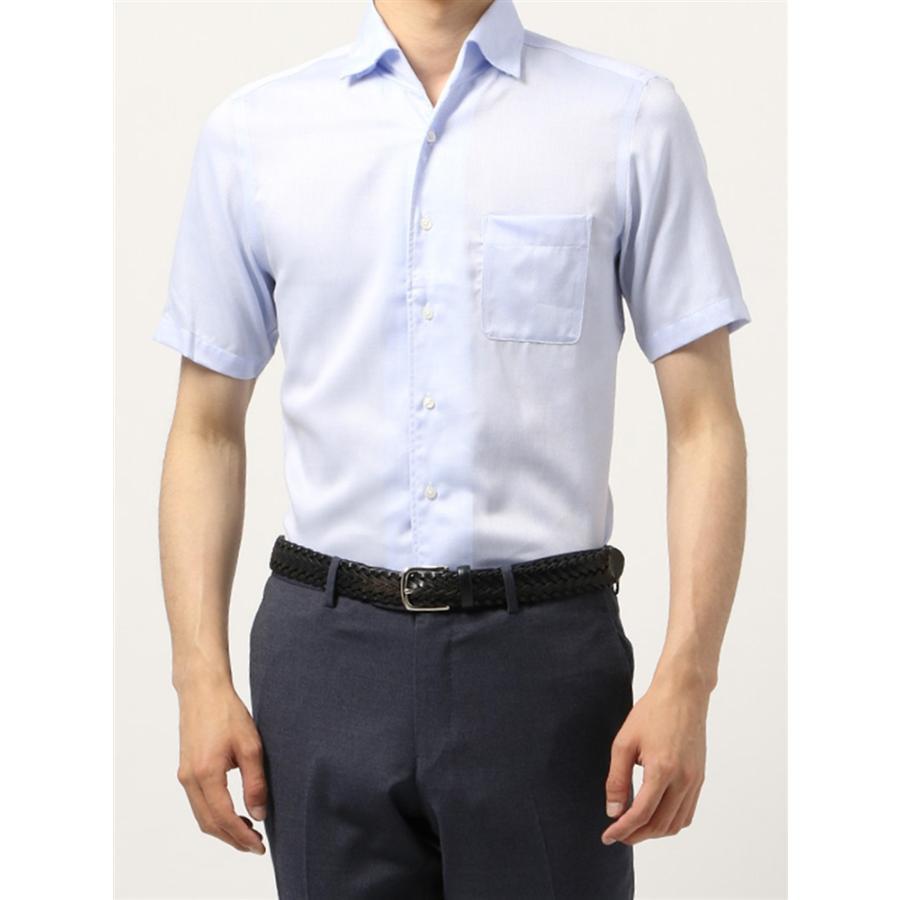 ドレスシャツ/半袖/メンズ/半袖・ICE COTTON/ワンピースカラードレスシャツ 織柄 〔EC・BASIC〕 サックスブルー×ホワイト