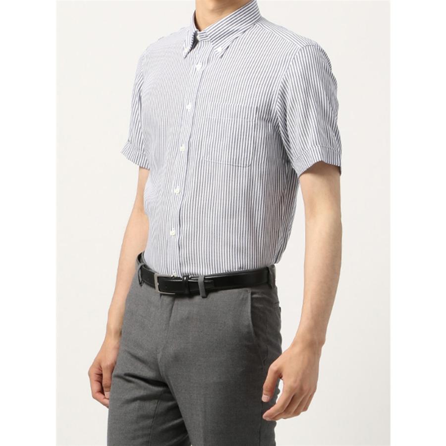 ドレスシャツ/半袖/メンズ/半袖・ICE COTTON/ボタンダウンカラードレスシャツ 〔EC・BASIC〕 ネイビー×ホワイト