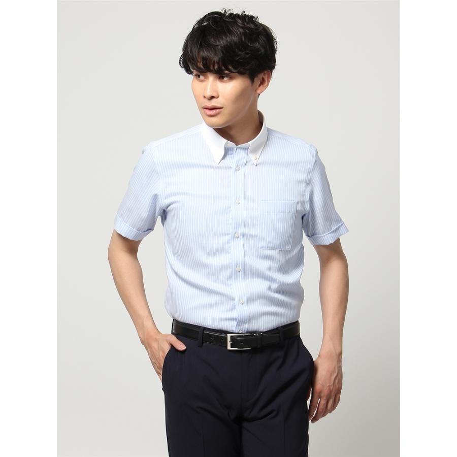 ドレスシャツ/半袖/メンズ/半袖・ICE COTTON/クレリック&ボタンダウンカラードレスシャツ 〔EC・BASIC〕 サックスブルー×ホワイト
