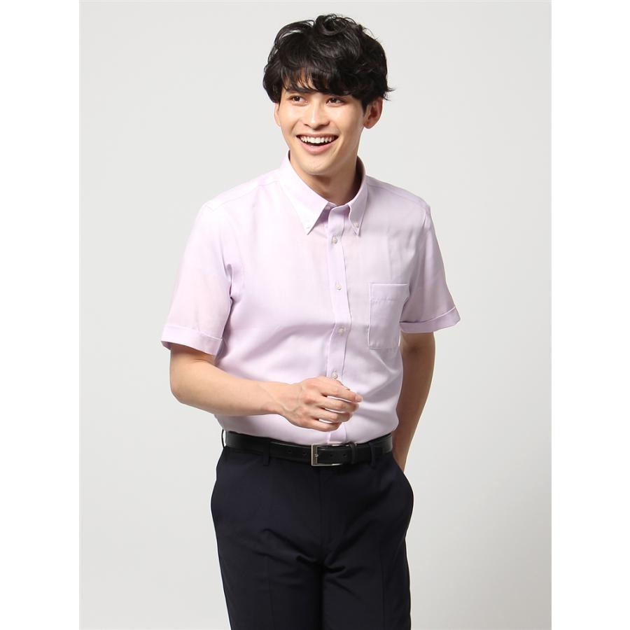 ドレスシャツ/半袖/メンズ/半袖・ICE COTTON/ボタンダウンカラードレスシャツ 織柄 〔EC・BASIC〕 ラベンダー
