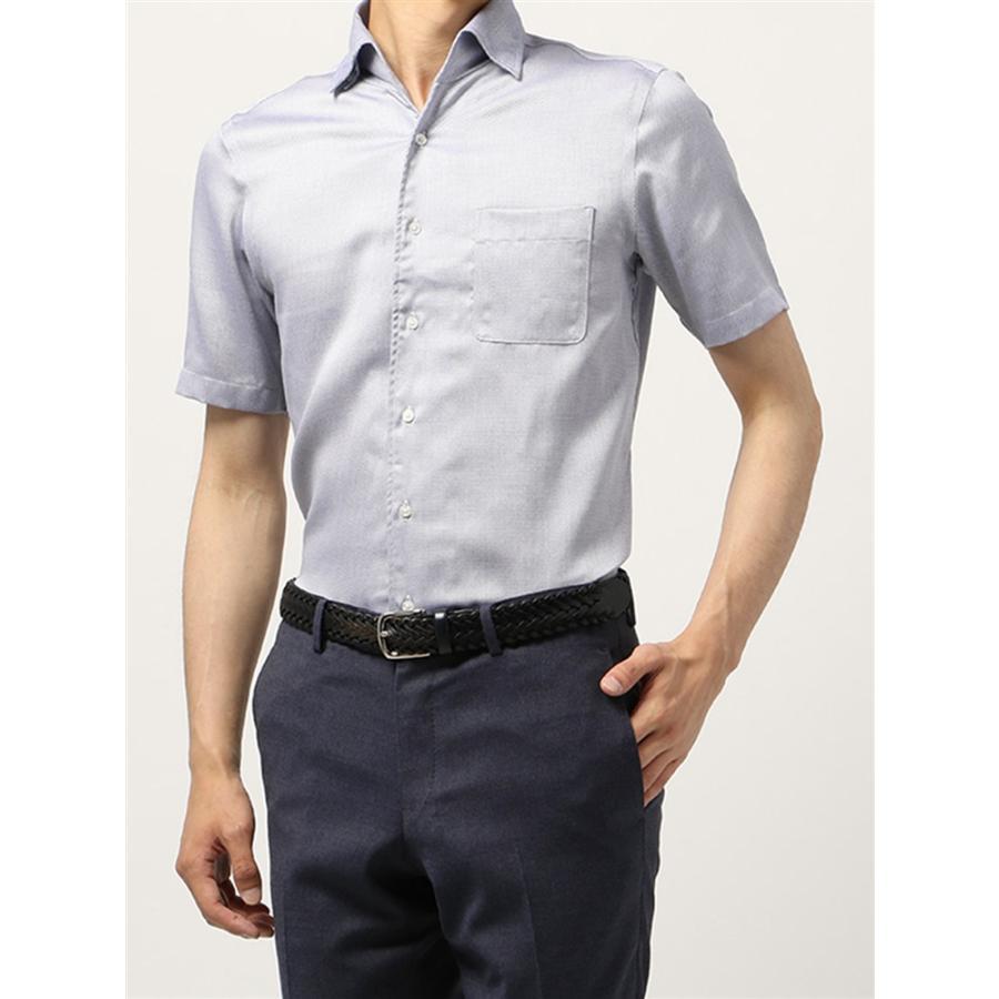 ドレスシャツ/半袖/メンズ/半袖・ICE COTTON/ワンピースカラードレスシャツ 織柄 〔EC・BASIC〕 ネイビー×ホワイト