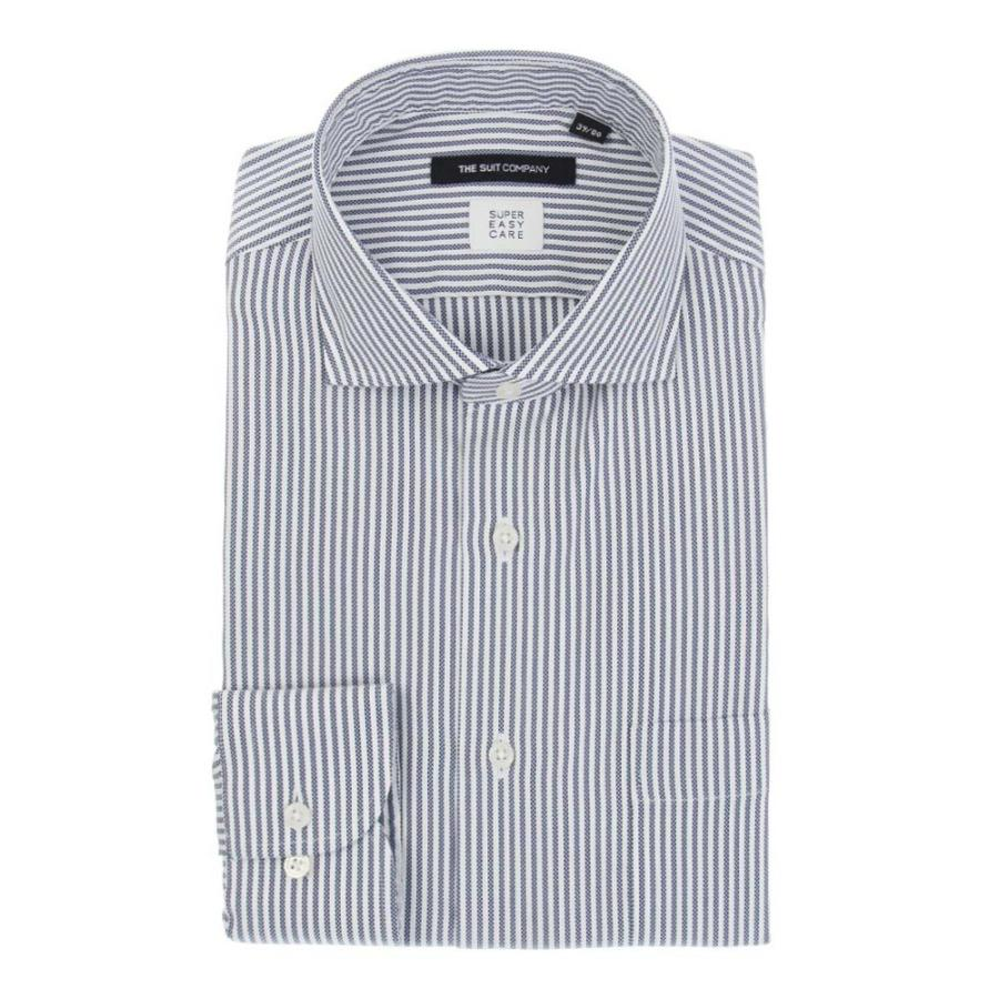 ドレスシャツ/長袖/メンズ/SUPER EASY CARE/ホリゾンタルカラードレスシャツ ストライプ 〔EC・BASIC〕 ネイビー×ホワイト