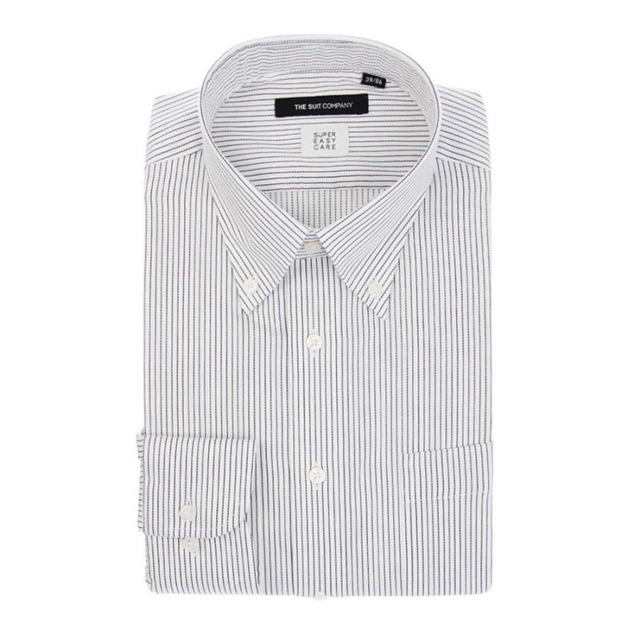 ドレスシャツ/長袖/メンズ/SUPER EASY CARE/ボタンダウンカラードレスシャツ ストライプ 〔EC・BASIC〕 ホワイト×ネイビー