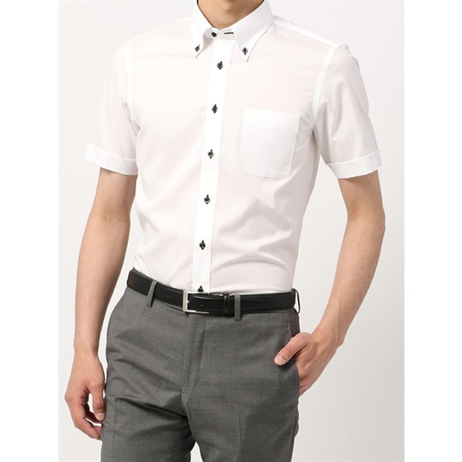 ドレスシャツ/半袖/メンズ/半袖・SUPER EASY CARE/ボタンダウンカラードレスシャツ 〔EC・BASIC〕 ホワイト