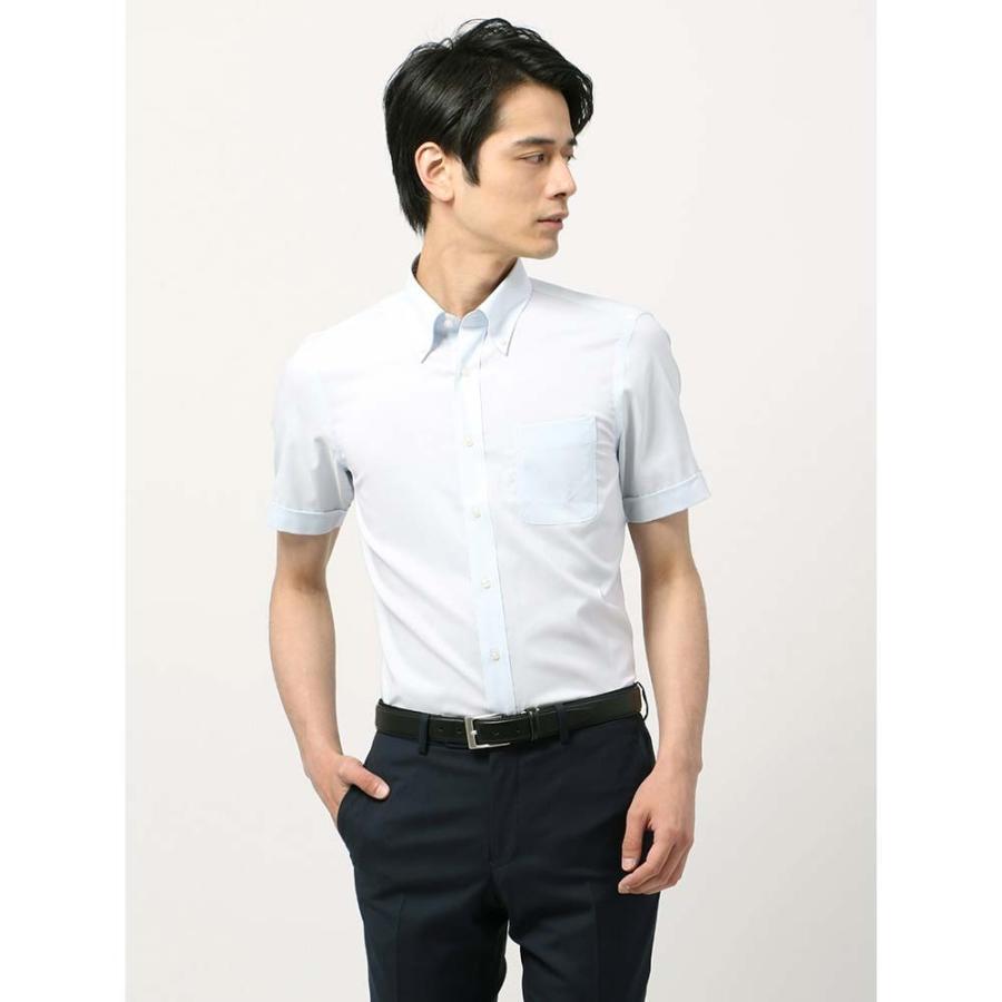 ドレスシャツ/半袖/メンズ/半袖・SUPER EASY CARE/ボタンダウンカラードレスシャツ 織柄 〔EC・BASIC〕 サックスブルー×ホワイト
