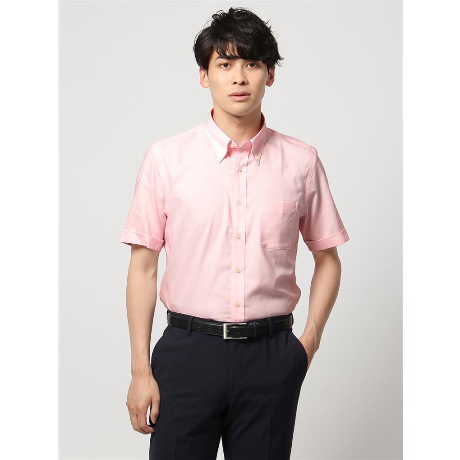 ドレスシャツ/半袖/メンズ/半袖・SUPER EASY CARE/ボタンダウンカラードレスシャツ 〔EC・BASIC〕 ホワイト×ピンク