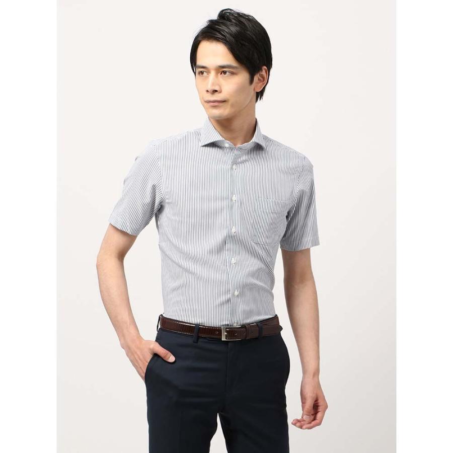 ドレスシャツ/半袖/メンズ/半袖・SUPER EASY CARE/ホリゾンタルカラードレスシャツ 〔EC・BASIC〕 ネイビー×ホワイト