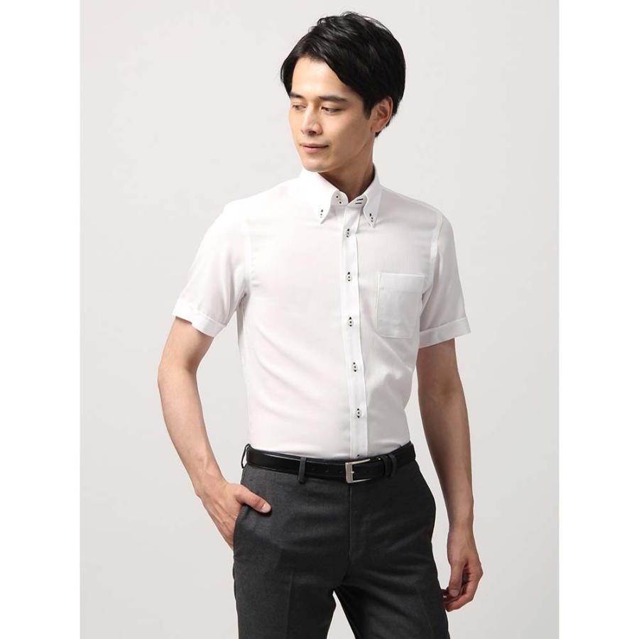 ドレスシャツ/半袖/メンズ/半袖・SUPER EASY CARE/ボタンダウンカラードレスシャツ 織柄 〔EC・BASIC〕 ホワイト