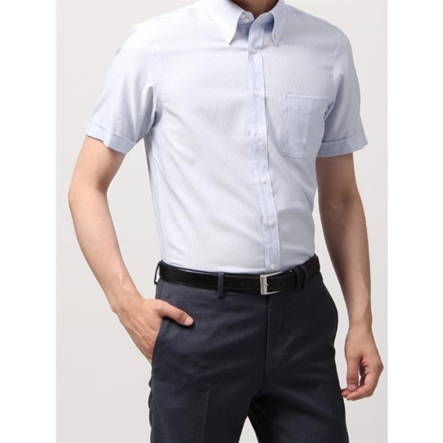 ドレスシャツ/半袖/メンズ/半袖・SUPER EASY CARE/ボタンダウンカラードレスシャツ 織柄 〔EC・BASIC〕 ホワイト×サックスブルー