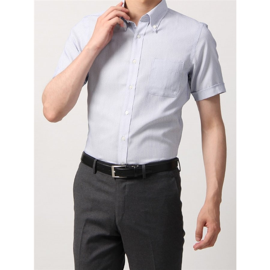 ドレスシャツ/半袖/メンズ/半袖・SUPER EASY CARE/ボタンダウンカラードレスシャツ 織柄 〔EC・BASIC〕 ホワイト×ブルー