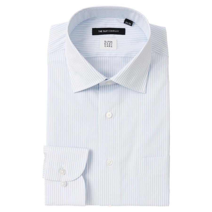 ドレスシャツ/長袖/メンズ/SUPER EASY CARE/ワイドカラードレスシャツ ストライプ 〔EC・BASIC〕 ブルー×ホワイト