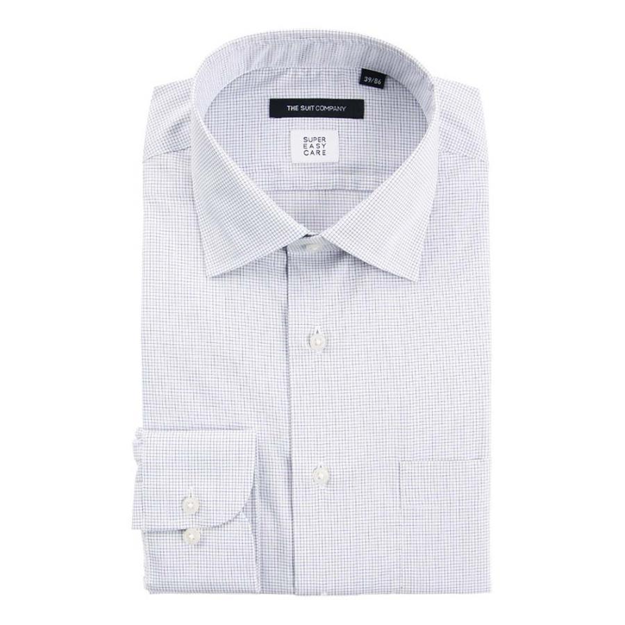 ドレスシャツ/長袖/メンズ/SUPER EASY CARE/ワイドカラードレスシャツ グラフチェック 〔EC・BASIC〕 ホワイト×ネイビー