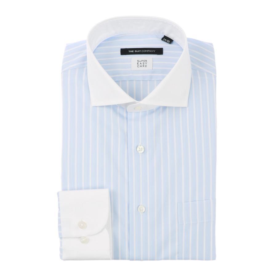 ドレスシャツ/長袖/メンズ/SUPER EASY CARE/クレリック&ホリゾンタルカラードレスシャツ 〔EC・BASIC〕 サックスブルー×ホワイト