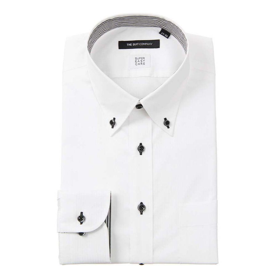 ドレスシャツ/長袖/メンズ/SUPER EASY CARE/ボタンダウンカラードレスシャツ〔EC・BASIC〕 ホワイト