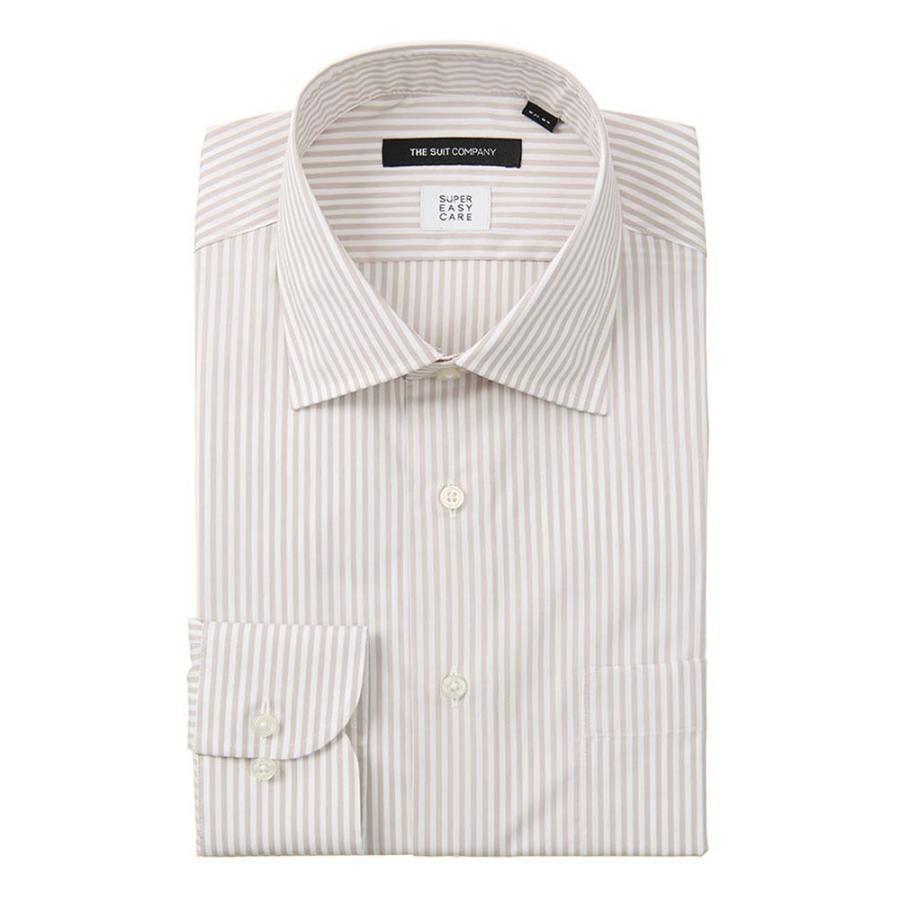 ドレスシャツ/長袖/メンズ/SUPER EASY CARE/ワイドカラードレスシャツ ストライプ 〔EC・BASIC〕 ベージュ×ホワイト