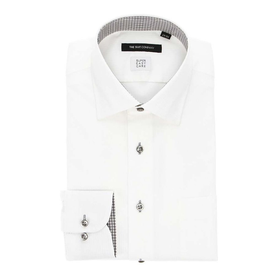ドレスシャツ/長袖/メンズ/SUPER EASY CARE/ワイドカラードレスシャツ シャドーストライプ〔EC・BASIC〕 ホワイト