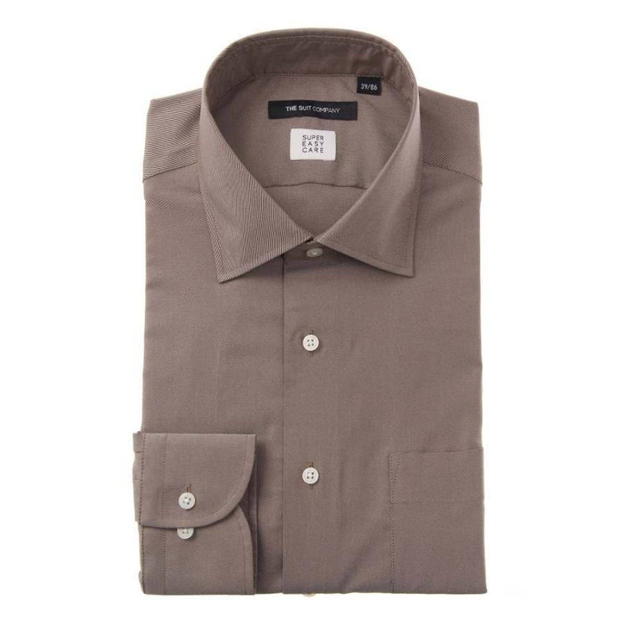 ドレスシャツ/長袖/メンズ/ワイドカラードレスシャツ 織柄  〔EC・BASIC〕 ブラウン