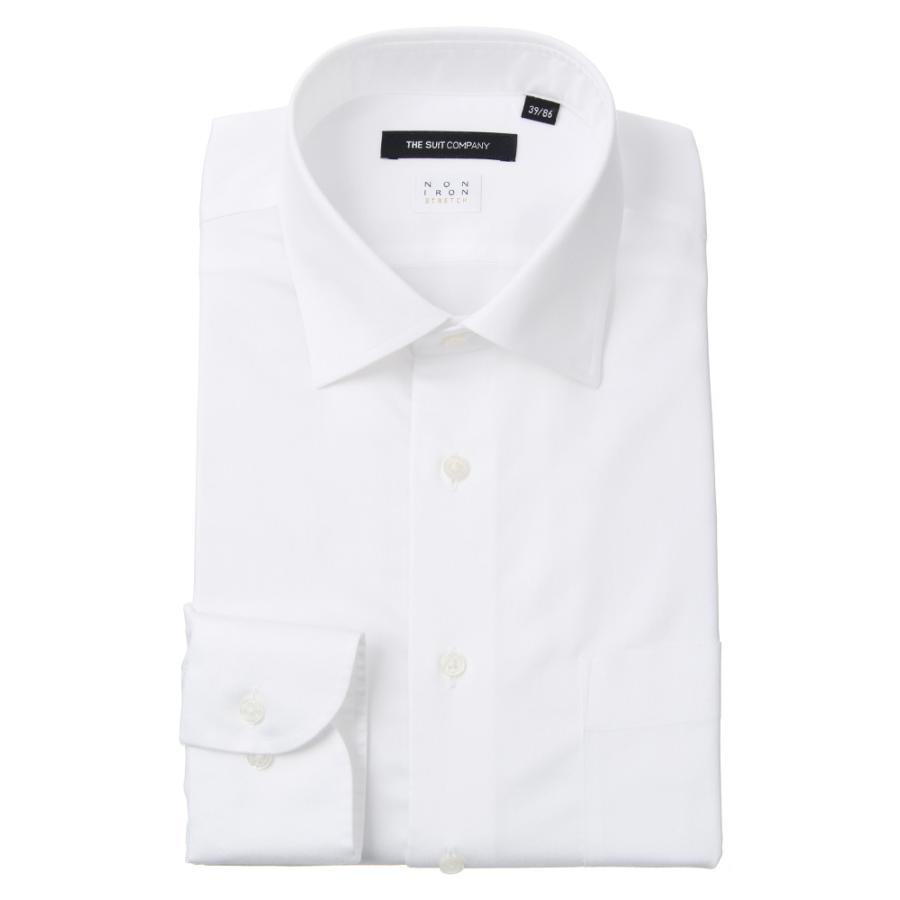 ドレスシャツ/長袖/メンズ/NON IRON STRETCH/ワイドカラードレスシャツ 無地 〔EC・BASIC〕 ホワイト