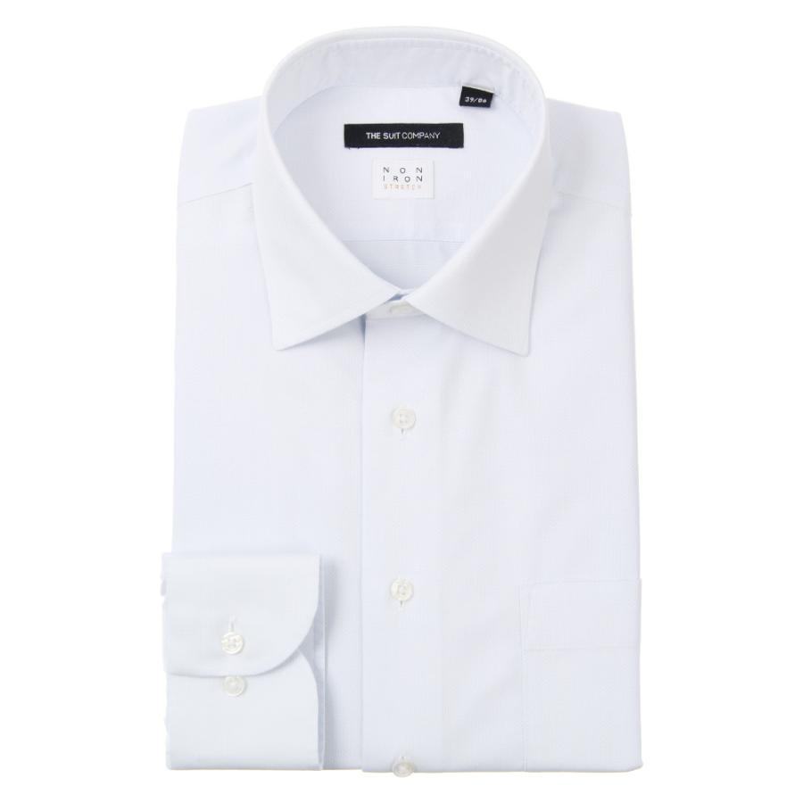 ドレスシャツ/長袖/メンズ/NON IRON STRETCH/ワイドカラードレスシャツ ピンドット 〔EC・BASIC〕 サックスブルー
