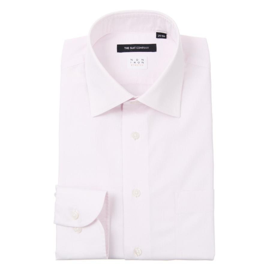 ドレスシャツ/長袖/メンズ/NON IRON STRETCH/ワイドカラードレスシャツ ピンドット 〔EC・BASIC〕 ピンク