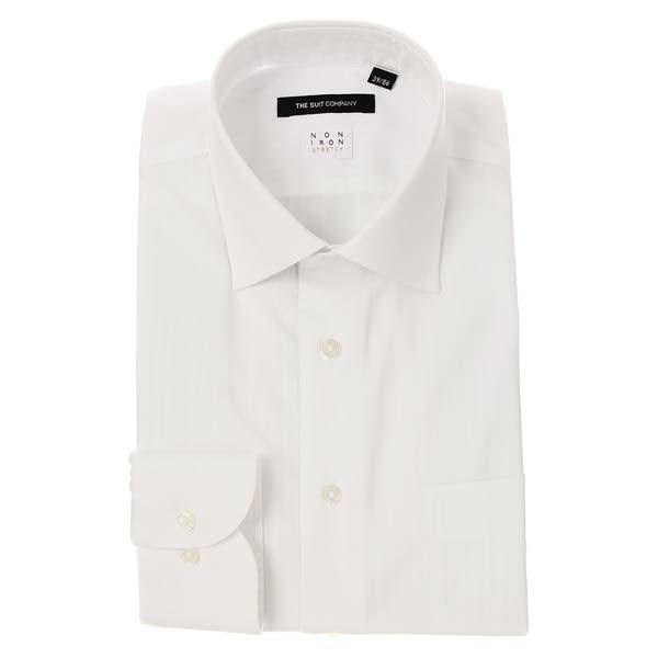 ドレスシャツ/長袖/メンズ/NON IRON STRETCH/ワイドカラードレスシャツ シャドーストライプ〔EC・BASIC〕 ホワイト