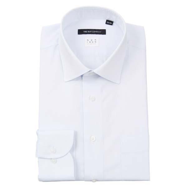 ドレスシャツ/長袖/メンズ/NON IRON STRETCH/ワイドカラードレスシャツ 織柄 〔EC・BASIC〕 サックスブルー