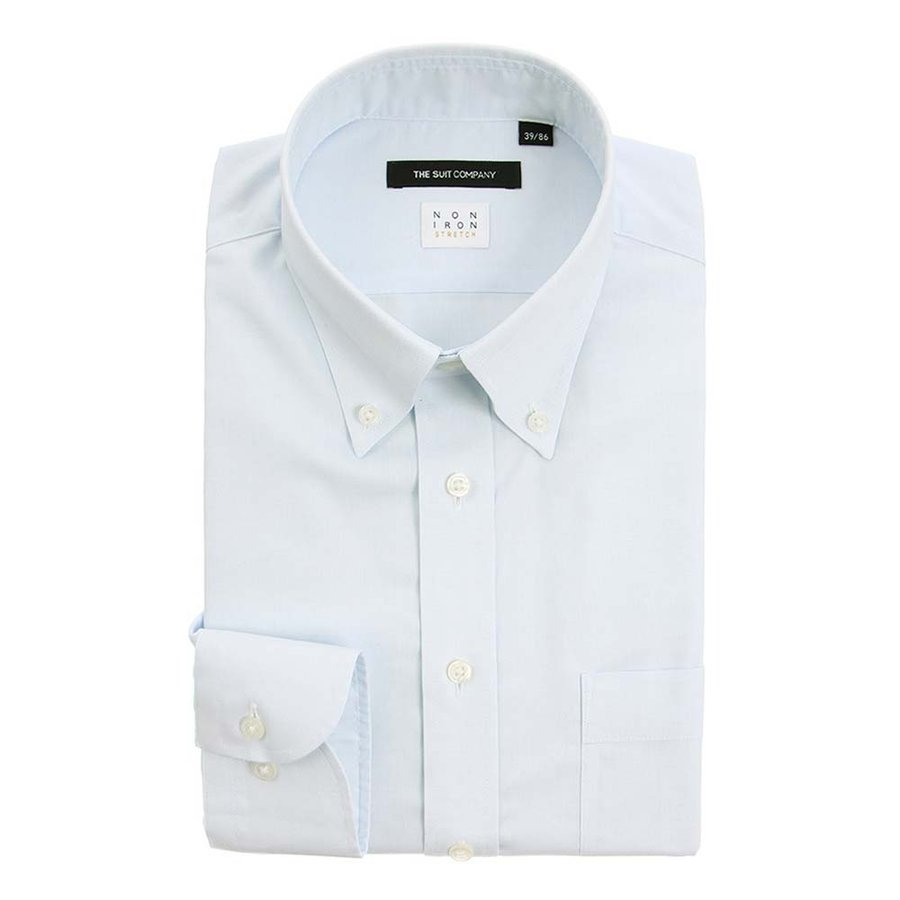 ドレスシャツ/長袖/メンズ/NON IRON STRETCH/ボタンダウンカラードレスシャツ 織柄 〔EC・BASIC〕 サックスブルー