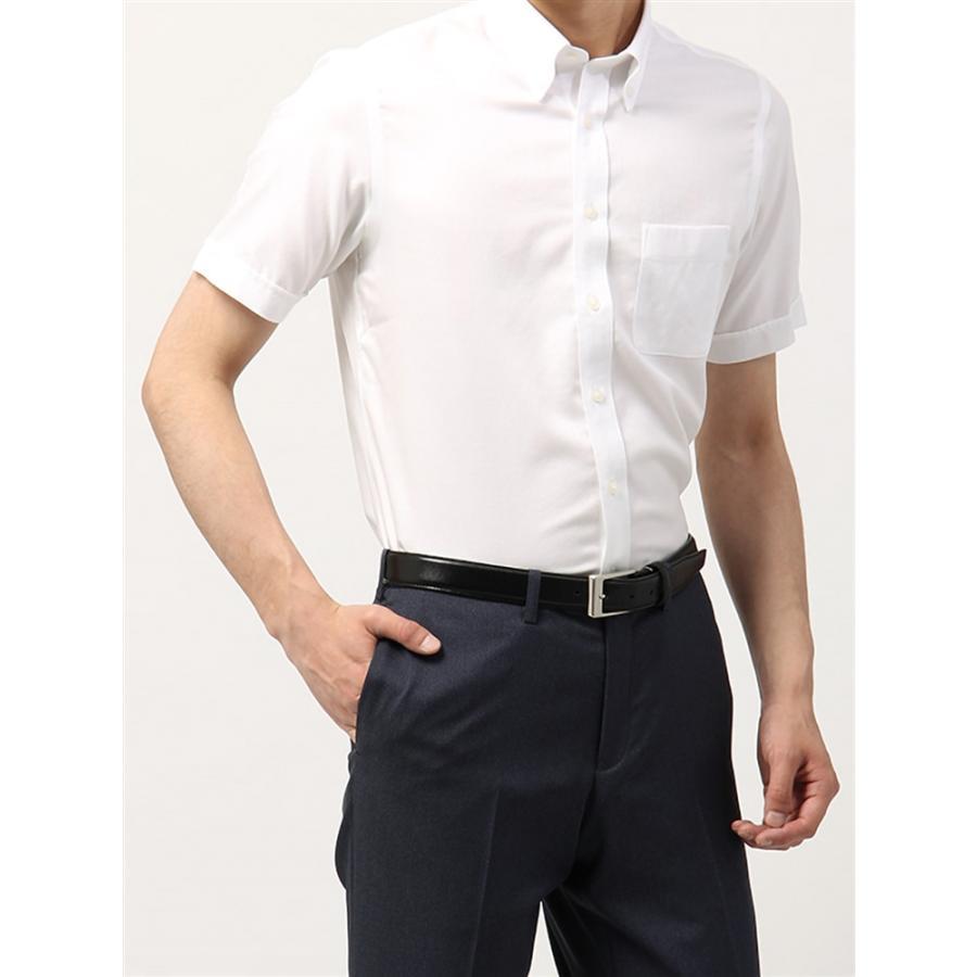ドレスシャツ/半袖/メンズ/半袖・NON IRON STRETCH/ボタンダウンカラードレスシャツ織柄 〔EC・BASIC〕 ホワイト