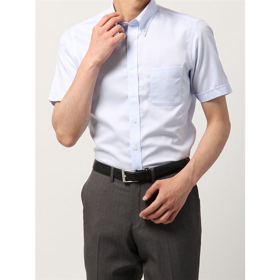ドレスシャツ/半袖/メンズ/半袖・NON IRON STRETCH/ボタンダウンカラードレスシャツ織柄 〔EC・BASIC〕 サックスブルー×ホワイト